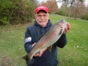 This 3-pound rainbow was a joy to watch turn aerial somersaults before coming to the net.
